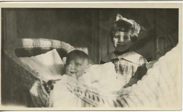 baby Shirley and big sister Evelyn