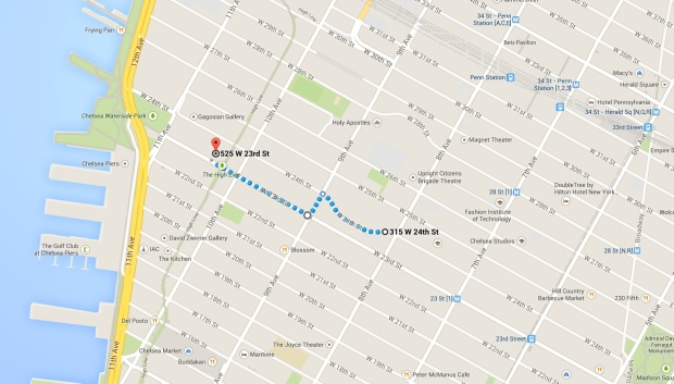 Map marking route from NYC residence to work